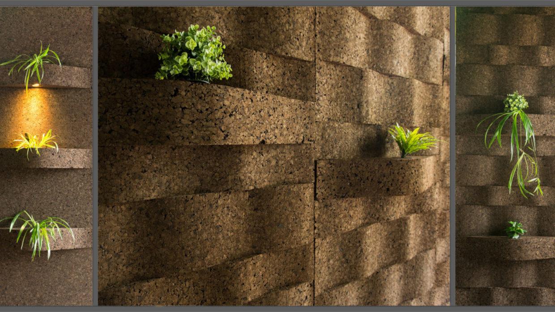 Corkwave Green, geëxpandeerde kurkwand voor verticale binnentuinen